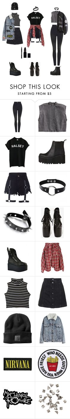 """Goth-Grunge Outfits (requested)"" by grungeclothes ❤ liked on Polyvore featuring Topshop, H&M, Windsor Smith, UNIF, R13, Urban Decay, men's fashion and menswear"