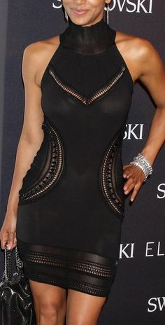 Roberto Cavalli Dress...every girl needs that little black dress, Halle Barry looks stunning in this one.