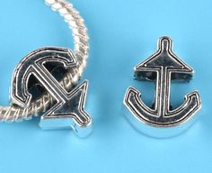 Europeon Style Beads  //  Anchors Away  // Nautical  //  Anchor //  Sailing  //  Boating  // Pandora inspired