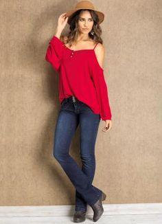 Blusa Ciganinha com Abertura nas Costas Vermelha - Quintess