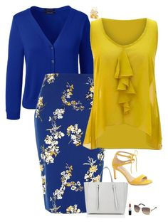 """Blue & yellow"" by julietajj on Polyvore featuring Lands' End, River Island, jon & anna, Valextra, Via Spiga, Swarovski and MAC Cosmetics"