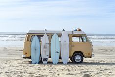 The ultimate surfboard quiver. Check out the four surfboards we decided to bring on our yearlong round-the-world surf trip and why we choose them. Piper Mclean, Vw Beach, Vw Vintage, Sup Surf, Annabeth Chase, Surf Trip, Volkswagen Bus, Vw Camper, Volkswagen Beetles