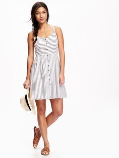 Fit & Flare Button-Down Tank Dress for Women Product Image