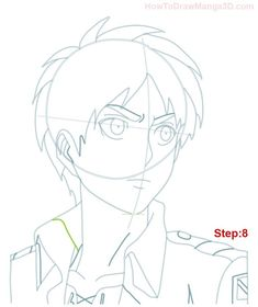 Learn how to draw Eren Yeager from Attack on Titan AKA Shingeki no Kyogin today! ^_^ Eren is the main character of this popular Manga and Anime series and he guards a terrible secret! Drawing Course, Drawing Base, Anime Character Drawing, Popular Manga, Anime Drawings Sketches, Beyblade Characters, Attack On Titan Anime, Titans, Step By Step Drawing