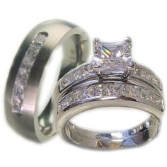 3 Pieces His  Her 925 Sterling Silver White Gold Plated  Titanium Matching Engagement Wedding Bridal Ring Set... $64.99