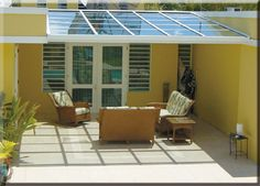 Solar Roofs from Solar Power Sunrooms. We offer solar roofs, solar canopies or just a solar canopy if you choose. Solar Roofs and solar canopies create energy and saves you money. Plans D'atelier, Outdoor Spaces, Outdoor Living, Outdoor Decor, Backyard Canopy, Gazebo, Solar Roof, Solar House, Solar Energy