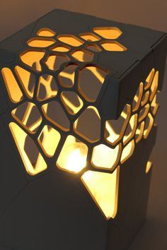 """Zush"" Voronoi & Delaunay table light Source by mariamzush I do not take credit for the images in this post. Light Table, Lamp Light, Laser Cut Lamps, Licht Box, Parametric Design, Bedside Table Lamps, Wooden Lamp, Light Project, Lighting Design"