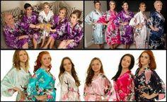 Set of 7 8 9 Kimono Floral Bridesmaid Robes Satin Silk Dressing Gown Wedding Robe gowns, bride robe, wedding party robes, satin robe, kimono. Bridal Party Robes, Wedding Gowns, Beach Bachelorette, Bridesmaid Robes, Floral, Steam Room, Peacock, Kimono, Dressing