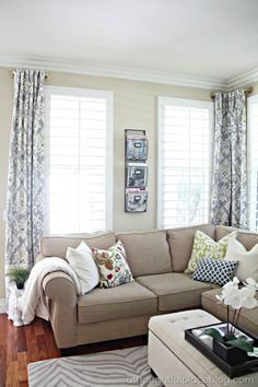 A Thoughtful Place: Living Room Update: Semi-Custom Drapes - Living Room Update, Home Living Room, Living Room Decor, A Thoughtful Place, Short Curtains, Lengthen Curtains, Custom Drapes, Chula, Up House