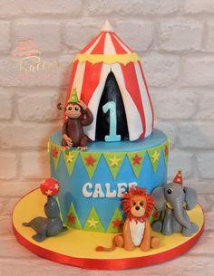 Circus theme 1st birthday cake