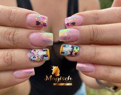Disney Nails, Cool Nail Art, Summer Nails, My Nails, Nail Designs, Beauty, Color, Gold Gel Nails, Gold Nail Art