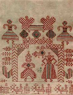 Олонецкая губерния Каргопольский уезд Russian Embroidery, Aari Embroidery, Vintage Embroidery, Needlepoint Stitches, Needlework, Old Symbols, Russian Folk Art, Cross Stitch Bird, Textiles