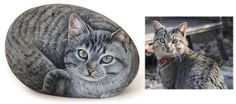 Cat rock portraits by Roberto Rizzo. Get your cat painted on a sea rock!  Just send me some pictures of your cat(s) for a quote, filling out the contact