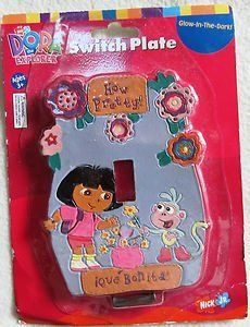 Dora the Explorer Glow-In-the-Dark Switch Plate by Nick Jr. $8.03. See it glow in the dark when the lights go out.. Learn some Spanish. You can decorate your childs room with Dora and her Friends. Glow-in-the-dark switch plate. Age 3+.
