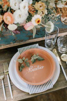 Terracotta place settings | Wedding & Party Ideas | 100 Layer Cake Dog Wedding, Wedding Shoot, Terracotta, Wedding Place Settings, 100 Layer Cake, Orange Wedding, Orange Beach, Simple Weddings, Event Decor