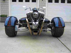 Radical trike using VW trans, Harley engine built by Ken Woerle