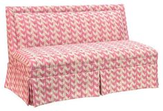 Lela Skirted Settee, Pink Jetty Stripe, While this chic settee's brightly hued chevron print is first to draw us in, we also love how a matching welt and wrap-around skirt trace its crisp, clean-lined silhouette. Handcrafted in the USA. Striped Furniture, Pink Furniture, Handmade Furniture, Furniture Making, Living Room Furniture, Furniture Design, Settee Dining, Settee Sofa, Pink Settee