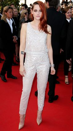 KRISTEN STEWART The actress dazzled in a white sequined jumpsuit and nude heels, which made quite a statement on the red carpet.