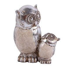 Picture of Baby and Mother Silver Capiz Owl - 4.8 in.