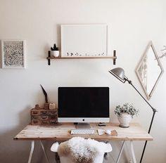 Workspace setup idea. Light timber. Wall shelf. Floor lamp. https://www.carmendarwin.com