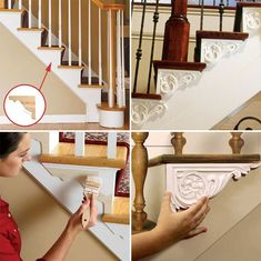 15 DIY Molding and Trim Projects for Home Upgrading Use the decorative brackets to turn the exposed side of staircases into an elegant eye-catcher. Home Upgrades, Shabby Chic Homes, Shabby Chic Decor, Stairs Trim, Decorative Brackets, Stair Makeover, Moldings And Trim, Interior Stairs, Diy Molding