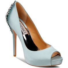 Badgley Mischka Peep Toe Platform Evening Pumps - Kiara High Heel (770 BRL) ❤ liked on Polyvore featuring shoes, pumps, blue radiance, blue peep toe pumps, blue high heel shoes, high heel shoes, peep toe platform pumps and blue pumps
