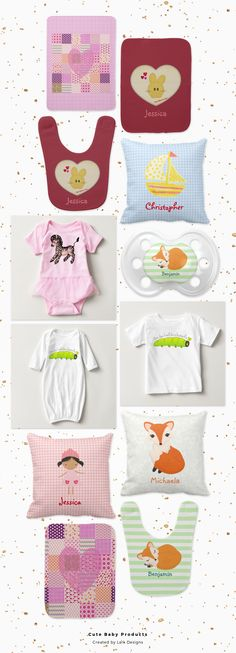 Baby accessories in pink and gold for a little princess or lavender and gold for a little prince with gold crowns. Cute bunnies, foxes and other themes. Customize and personalize these designs as you wish. #baby #zazzle
