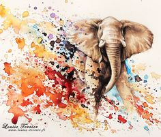 Elephant painting by Louise Terrier