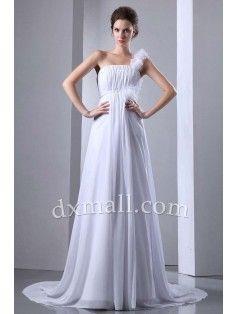 Asymmetrical Wedding Dresses One Shoulder Court Train Chiffon White W1001080052