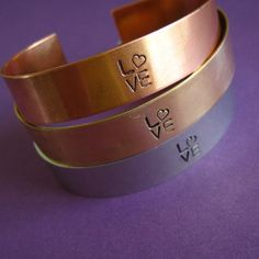 amazing handmade copper jewelry / Love Cuff Bracelet in Aluminum, Copper, or Brass