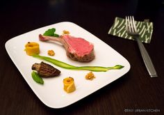 Tiny Urban Kitchen - Sous Vide Rack of Lamb with morels asparagus and mustard seeds. Adapted from Daniel Humm's Eleven Madison Park Cookbook.