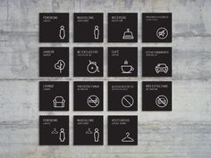 graphic designs, as symbols, emblems, or words, used especially for identification or as a means of giving directions or warning. Wayfinding Signage by Thiago Hapner on Dribbble Map Signage, Door Signage, Directional Signage, Office Signage, Wayfinding Signs, Retail Signage, Signage Design, Signage Board, Web Banner Design