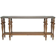 Maddie French Country Grey Linen Nailhead Console Table. #kathykuohome