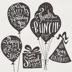 Birthday & Greeting Overlays // Hand Lettering // Photoshop PSD Vector EPS…