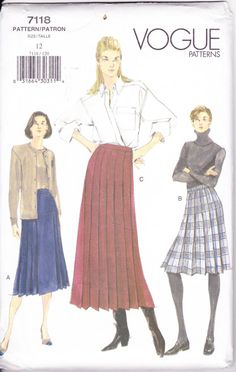 Have  Vogue 7118 Women's Sewing Pattern Pleated Skirt