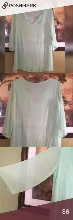 Mint Tunic Blouse Mint Tunic Blouse, Boutique buy, small makeup stain (remove able), flowy, great for leggings. Smoke/Pet Free Home. Tops Tunics