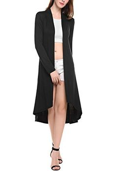 New Trending Outerwear: Qearl Women's Long Sleeve Open Front Draped Lightweight Duster Cardigan (XXXL, Black). Qearl Women's Long Sleeve Open Front Draped Lightweight Duster Cardigan (XXXL, Black)   Special Offer: $18.99      200 Reviews ♥♥ Usually takes around 7-15 days for arrival, please ignore the time frame shown on Amazon. Women's Long Sleeve Open Front Draped Long Duster...