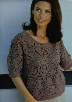 Brown 3/4 Length Sleeve Top with Pineapple Motif free crochet graph pattern