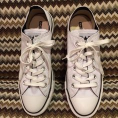 White ALL STAR COVERSE  low tops size 6 Brand new never worn white converse low tops , super cute :) Converse Shoes Sneakers