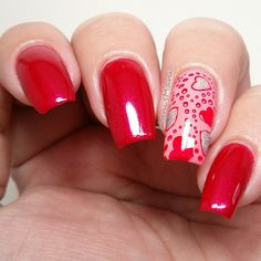 """Nie-cy Polish- """"red hot"""" (red) and """"who you calling baby"""" pink Stamped with Pueen Love Elements"""
