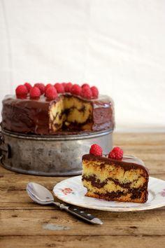 Vanilla chocolate marzipan cake.