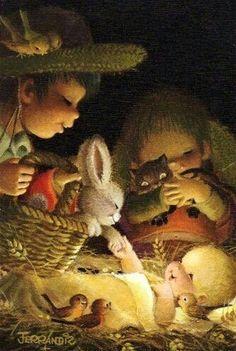 Nativity scene art print by Juan Ferrándiz