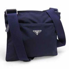 ef8f273e1a7a Prada Vela Nylon Messenger Bag BT0175 Dark Blue (Bluette)