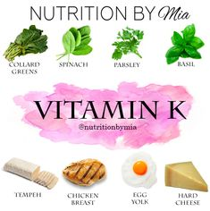 Nutrient Series: Vitamin K - Nutrition By Mia Healthy Diet Tips, Healthy Eating Habits, Healthy Life, Natural Remedies For Migraines, Natural Health Remedies, Fitness Nutrition, Health And Nutrition, Vitamin C Foods, Food Facts
