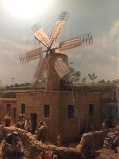 Small traditional Maltese windmill model at Monte Kristo Museum, Hal Farrug Luqa.jpeg