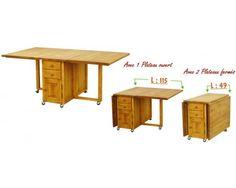 Table pliante double face 2 portes, et 2 tiroirs traversants en épicéa 100% massif
