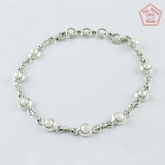 NATURAL PEARL STONE GLAMOURUS DESIGN 925 STERLING SILVER BRACELET BR4337 #SilvexImagesIndiaPvtLtd #Chain