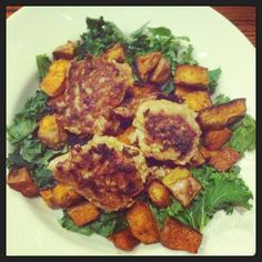 Turkey meatballs with roasted sweet potato cubes and kale salad