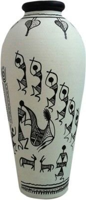 ExclusiveLane Terracotta Handpainted Warli Round 6 inch Terracotta Vase Price in India - Buy ExclusiveLane Terracotta Handpainted Warli Round 6 inch Terracotta Vase online at Flipkart.com