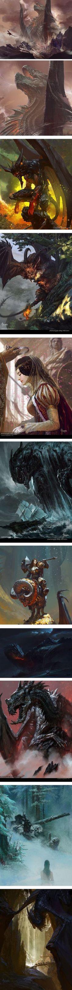 Bayard Wu, concept art, dragons